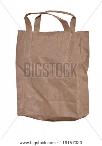 Used, simple, paper bag from shop. A little creased. Isolated on white with path.