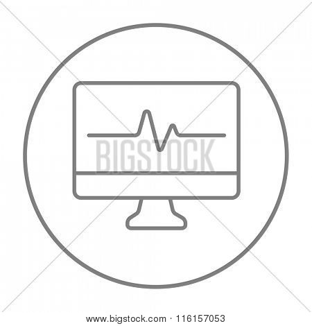 Heart beat monitor line icon.