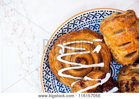 Closeup Of Danish Assosted Pastries