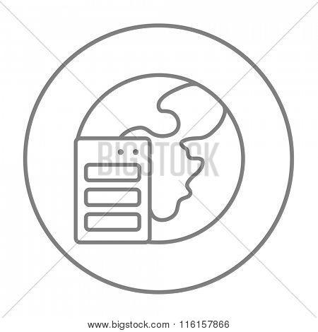 Server and globe line icon.