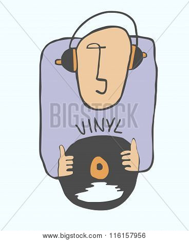 Music lover on vinyl