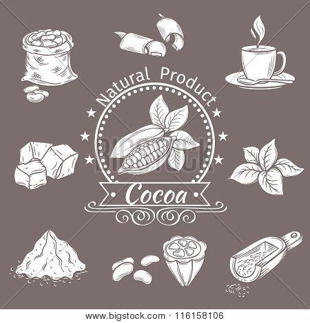 Decorative icons set cocoa