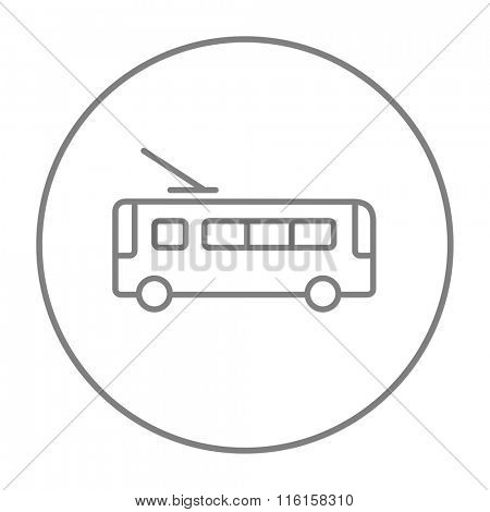 Trolleybus line icon.