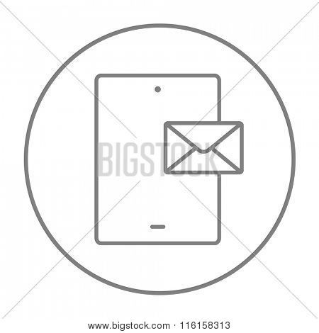 Digital tablet with message line icon.