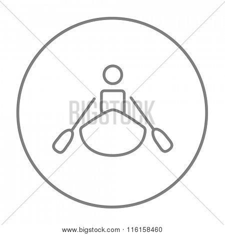 Man kayaking line icon.
