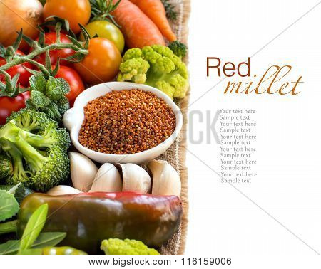 Uncooked Brown Millet In A Bowl With Vegetables