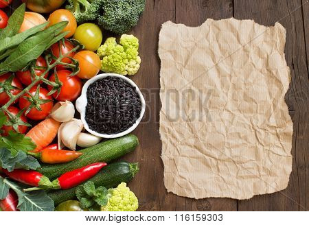 Uncooked Black Rice With Vegetables And Paper