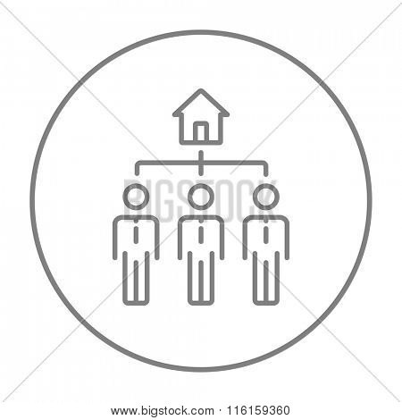 Three real estate agents line icon.