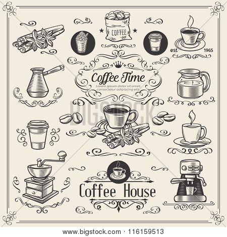 Decorative coffee Design Set.