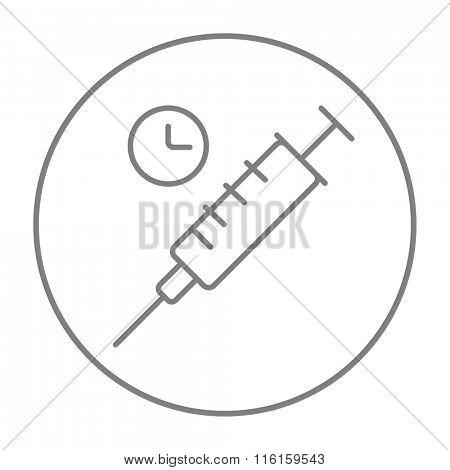 Syringe line icon.