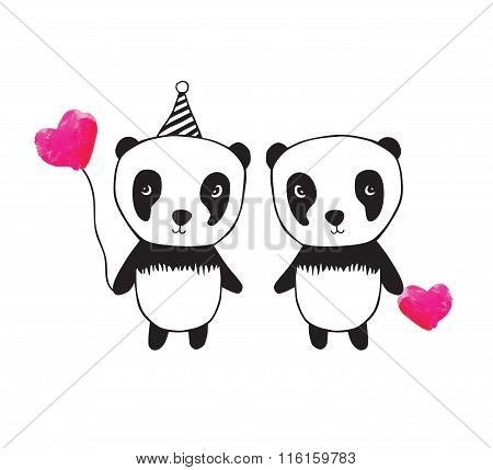 Two little cute pandas with pink watercolor hearts.