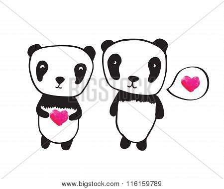 Hand drawn pandas for your design.