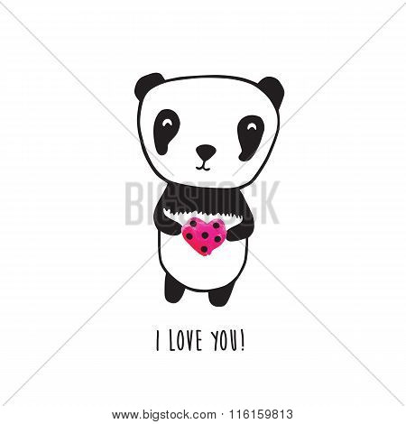 Hand drawn panda for your design.