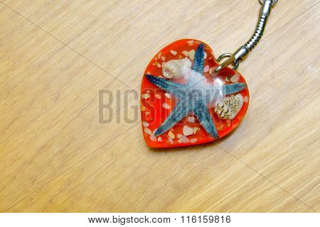 Keychain Heart With A Starfish Inside