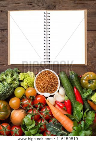 Uncookes Brown Milletl With Vegetables And Craft Paper