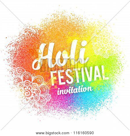 Happy Holi sign on colorful paint splash and powder background