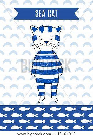 Card cute retro sea cat.
