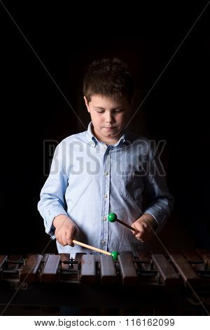 Boy Playing On Xylophone
