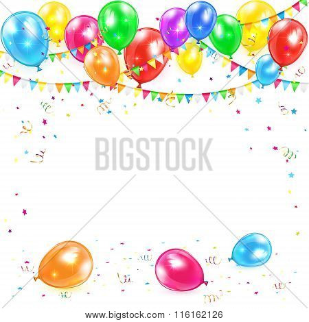 Balloons With Pennants And Confetti