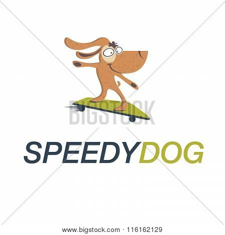 Cartoon Dog On Skateboard