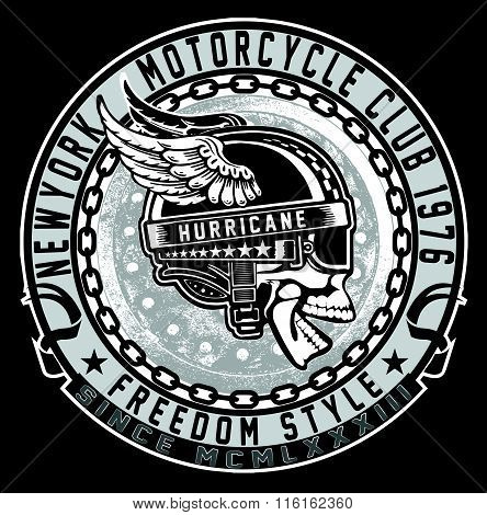 Vintage Biker Skull Emblem
