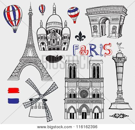 Inked Set of Famous Paris Landmarks, including Eiffel Tower, Church of Sacred Heart, Notre Dame, Bastille and Triumphal Arch. Black and white, hand drawn illustration