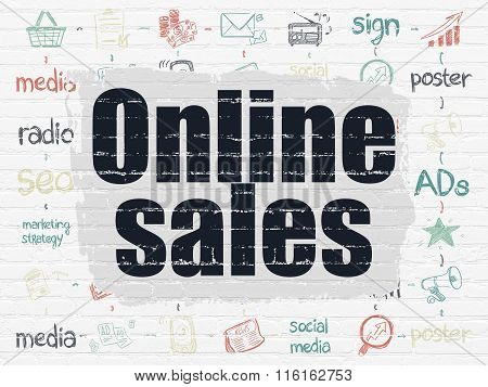 Marketing concept: Online Sales on wall background