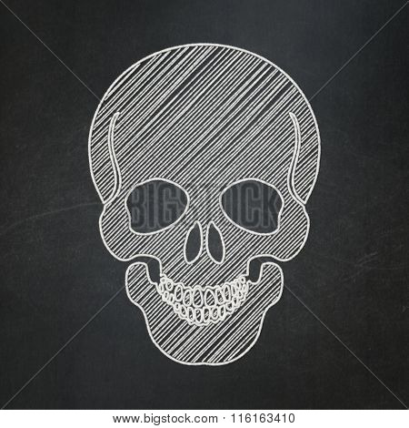 Healthcare concept: Scull on chalkboard background