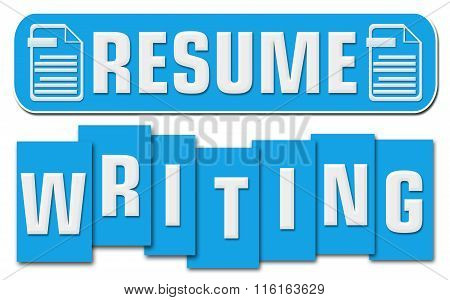Resume Writing Blue Stripe Square