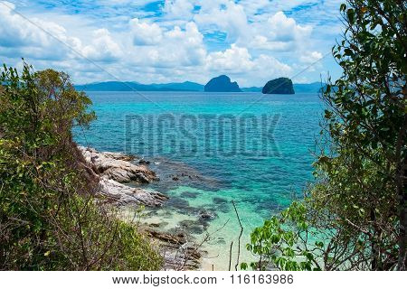 Scenic View Of Sea Bay And Rock Islands