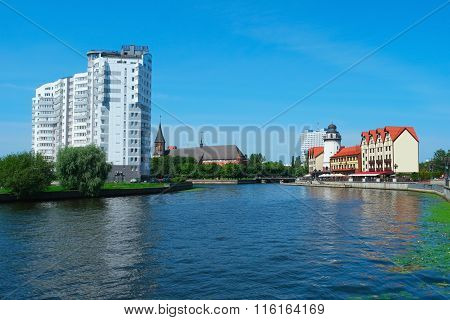 The Center Of Kaliningrad And Pregolya River