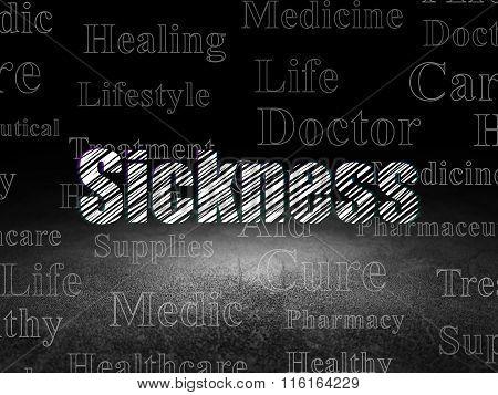 Healthcare concept: Sickness in grunge dark room