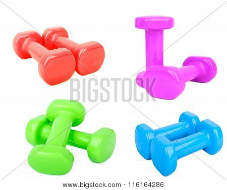 Blue Dumbbell Weights Isolated On White