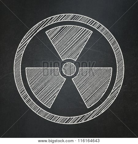 Science concept: Radiation on chalkboard background