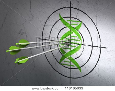 Science concept: arrows in DNA target on wall background