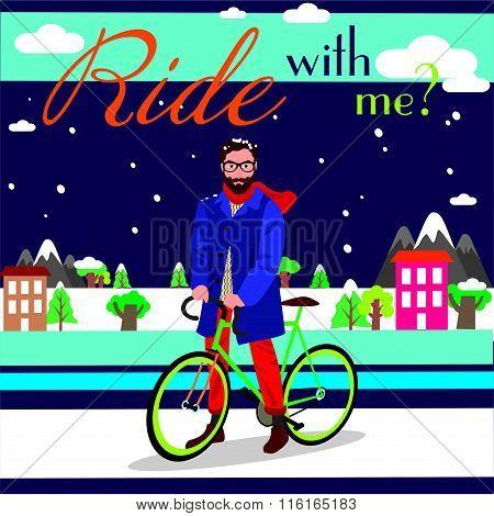 Man Snow With Bike