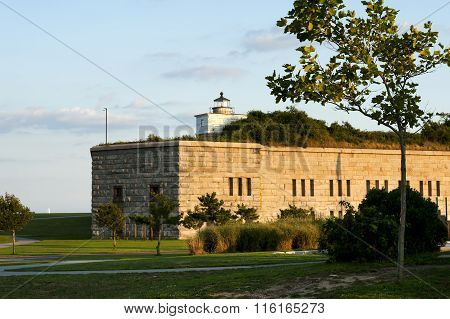 Old Lighthouse Tower On Top Of Fort