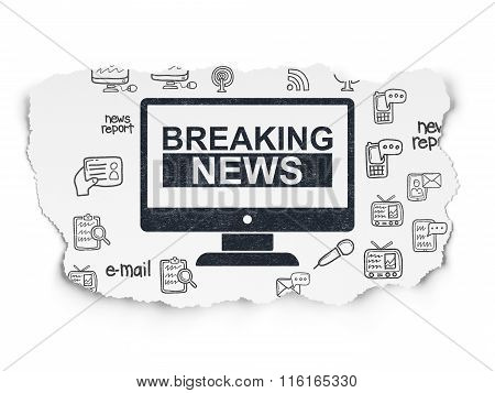 News concept: Breaking News On Screen on Torn Paper background