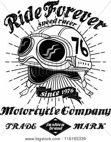 Tee Vintage Motorbike Race | Hand Drawing | T-shirt Printing | Badge Applique Label..