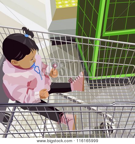 little girl sitting in the food trolley (vector illustration)