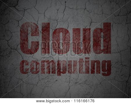 Cloud technology concept: Cloud Computing on grunge wall background