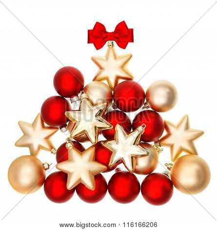Shiny Bubles Shaped Christmas Tree. Red And Golden Balls