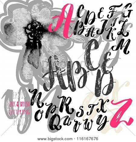 Hand Made Brush And Ink Typeface. Handwritten Retro Textured Grunge Alphabet