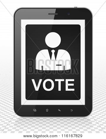 Political concept: Tablet Pc Computer with Ballot on display