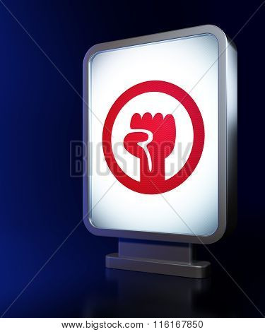 Politics concept: Uprising on billboard background