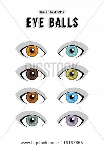 Set Of Neutral Concept Human Eye Illustrations