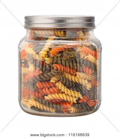Rainbow Rotini Pasta In A Glass Jar