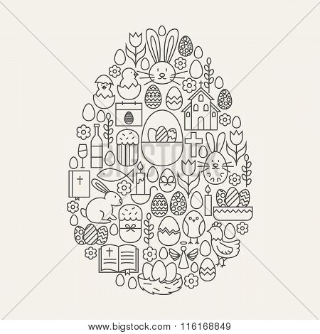 Happy Easter Line Icons Set Egg Shape