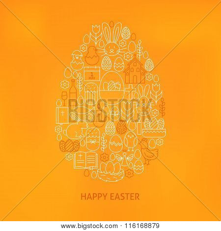 Orthodox Easter Line Icons Set Egg Shape