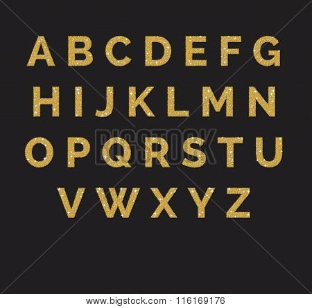 Stylized  sparkling golden glitter fancy latin abc alphabet. Use letters to make your own text.